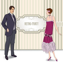 Coсktail Party Invitation In Retro Style. Couple On Date Background. Fashion Design In 1920 - 1930's Style
