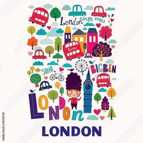 Wektorowy kolorowy wzór z symbolami Londyn