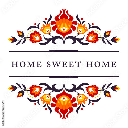 Home sweet home - folk decoration Wallpaper Mural