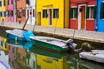Fototapeta na wymiar Houses of Burano an island of the main island of Venice, Italy, Europe