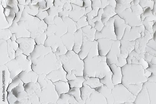 Fotomural  Agrietada escamas de pintura blanca, textura de fondo
