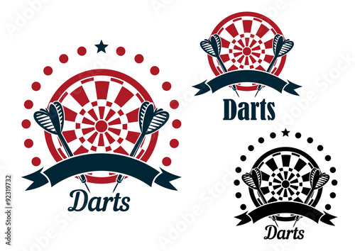 Cuadros en Lienzo Darts icons with arrows and dartboard