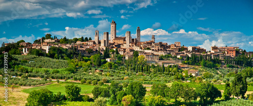 Aluminium Prints Autumn San Gimignano with vineyard