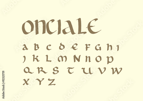 Uncial Script Font Handwritten With Ink And Parallel Pen This Ancient Letters Was Used From