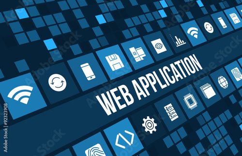 Fotografie, Obraz  Web application concept image with technology icons and copyspace
