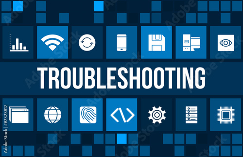 Fotografía  Troubleshooting concept image with technology icons and copyspace