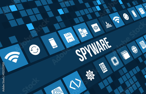 Fotografía  Spyware concept image with technology icons and copyspace