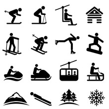 Ski, Snow And Winter Icons
