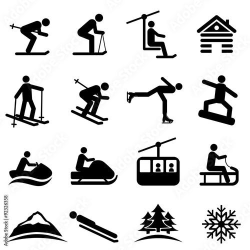 Fotografie, Obraz  Ski, snow and winter icons