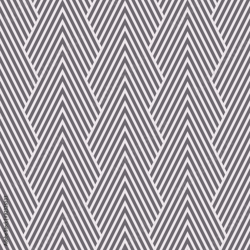 Seamless inverse black and white art deco optical chevron mountains pattern vect Wallpaper Mural