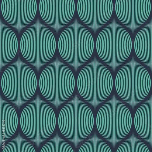 Stampa su Tela Seamless neon blue optical illusion woven pattern vector