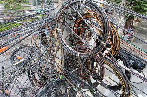 tangle, chaos, messy of electric cable