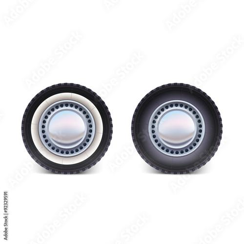 Fényképezés Car wheel on white background