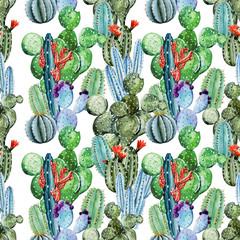 Panel Szklany Do pokoju dziewczyny Watercolor cactus pattern
