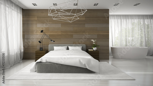 Fotografia  Interior of modern badroom with bathtub 3D rendering