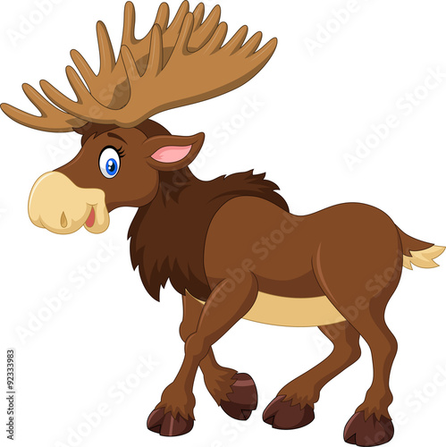 plakat Cartoon happy moose with big horns