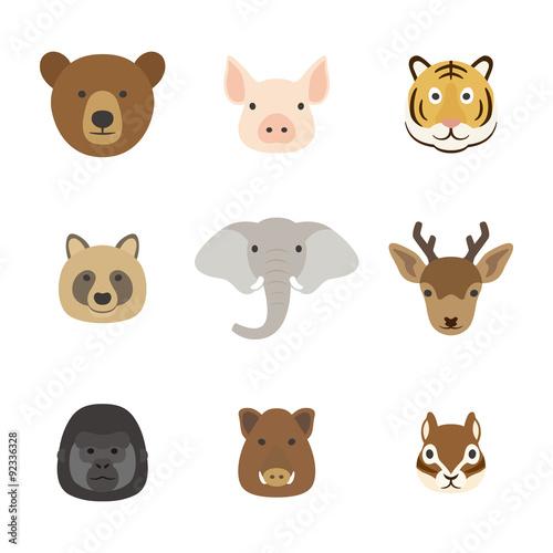 Fotografie, Obraz  動物の顔 セット