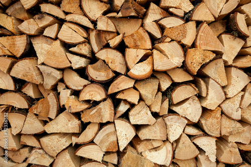 Aluminium Prints Firewood texture Pile of chopped fire wood, background