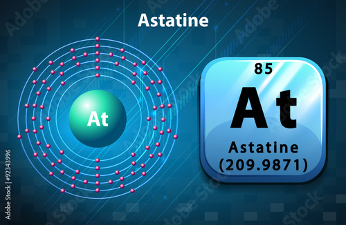 Symbol and electron diagram for Astatine Canvas Print