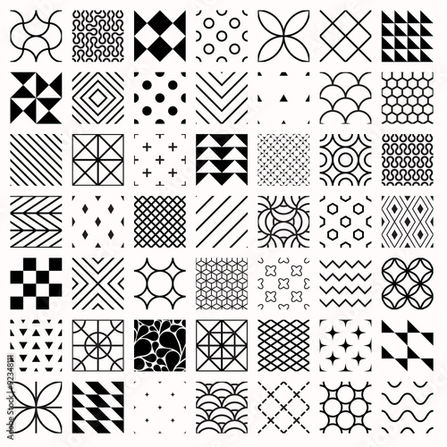 Set Of Geometric Seamless Patterns Triangles Lines Circles Black Classy Different Patterns