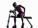 woman fitness exercises weights silhouette - 92348502