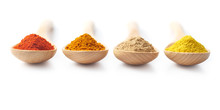 Spice Powders On Wooden Spoons