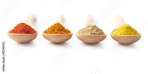 Printed kitchen splashbacks Spices Spice Powders on Wooden Spoons