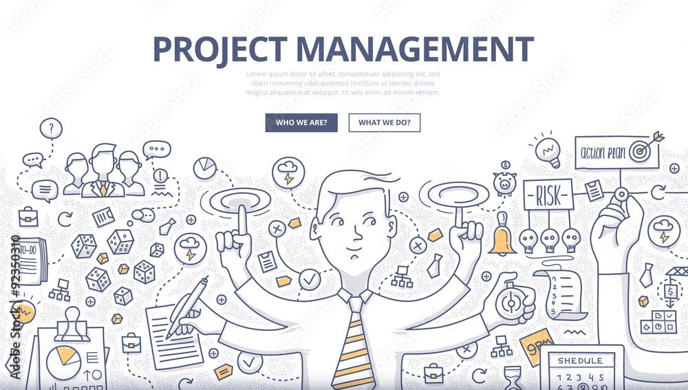 Fototapeta Project Management Doodle Concept