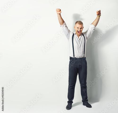 Deurstickers Ontspanning Happy man with hands up