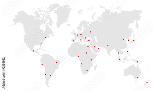 Foto op Canvas Wereldkaart City Capitals On World Map Vector