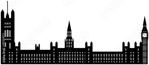 Fotografía  Image of cartoon Houses of Parliament and Big Ben silhouette