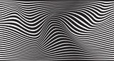 black and white mobious wave stripe optical design - 92359385
