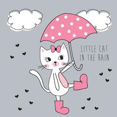 fototapeta mały kot w deszczu