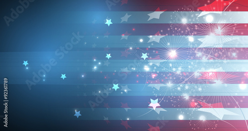 Fotografía  illustration of abstract American Flag for Independence Day