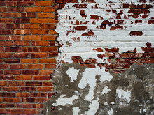 Old Brick Wall With White Paint
