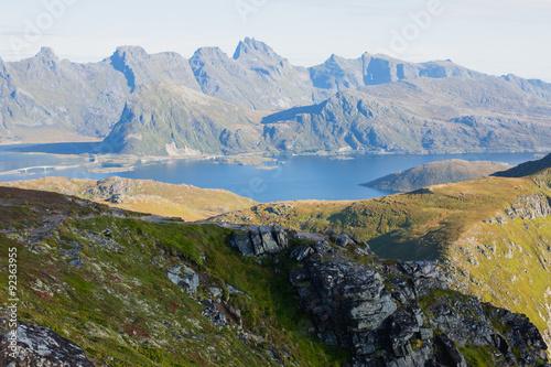 Photo  Beautiful Vibrant Norwegian Mountain Landscape from Ryten peak - famous mountain