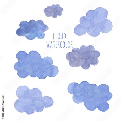 Poster Ciel Hand drawn blue watercolor cloud