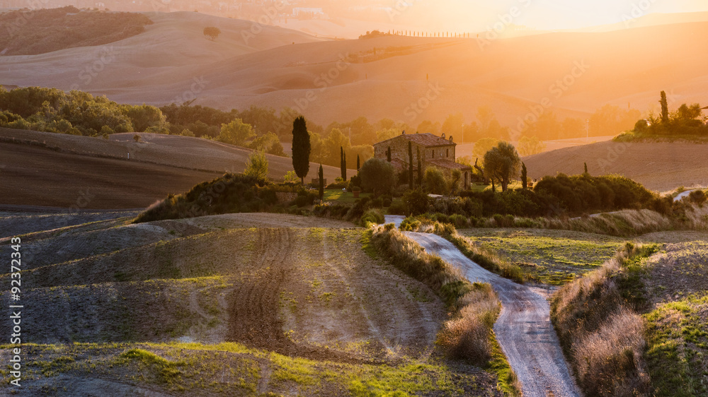 Beautiful painted sunset landscape of Tuscany, Italy