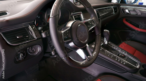 Photo  Interior view of car with black salon