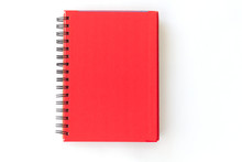 Spiral Red Notebook On White Background