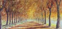 Road In The Autumn Forest, Oil Painting