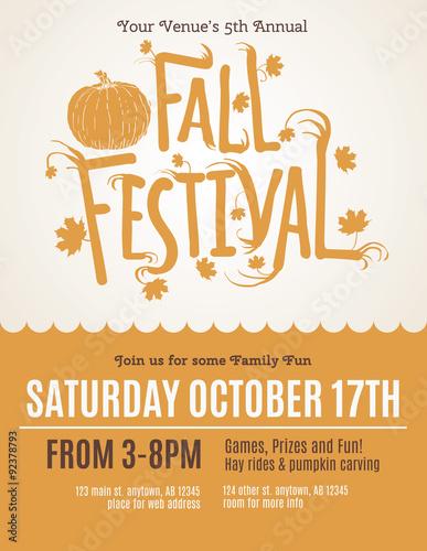 Fotografie, Obraz  Fun Fall Festival Invitation Flyer