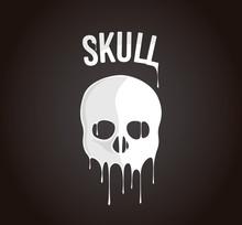 Skull Silhouette Melting In Drops. Black Halloween Edition.