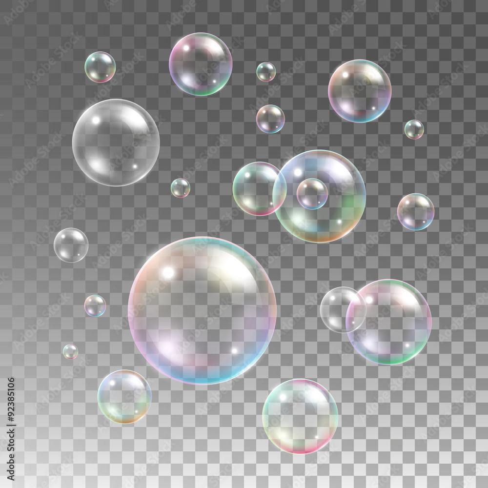 Fototapeta Transparent multicolored soap bubbles vector set on plaid