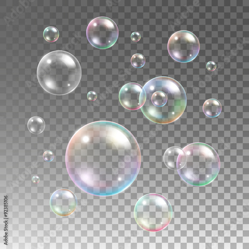 Transparent multicolored soap bubbles vector set on plaid Wallpaper Mural
