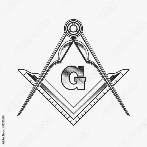 Fényképezés  Freemasonry emblem logo with G great architect