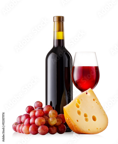 Red wine with cheese and grapes Canvas Print
