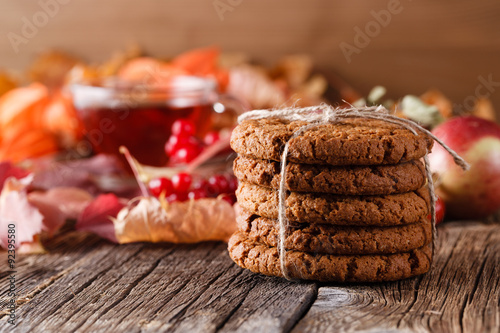 Fotobehang Koekjes Fall harvesting on rustic wooden table with oat cookies