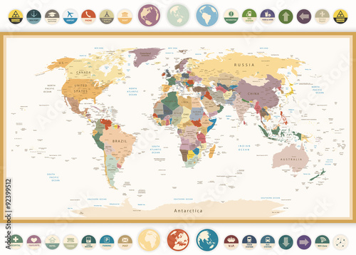 Recess Fitting World Map Political World Map with flat icons and globes.Vintage colors.