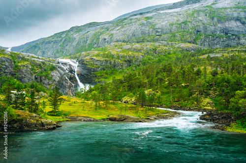 Poster Scandinavie Giant Waterfall in the Valley of waterfalls in Norway.